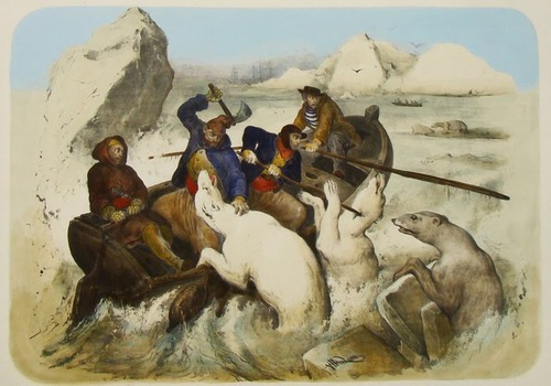 Рисунок «Охота на белых медведей» Виктора Адама (Victor Adam)