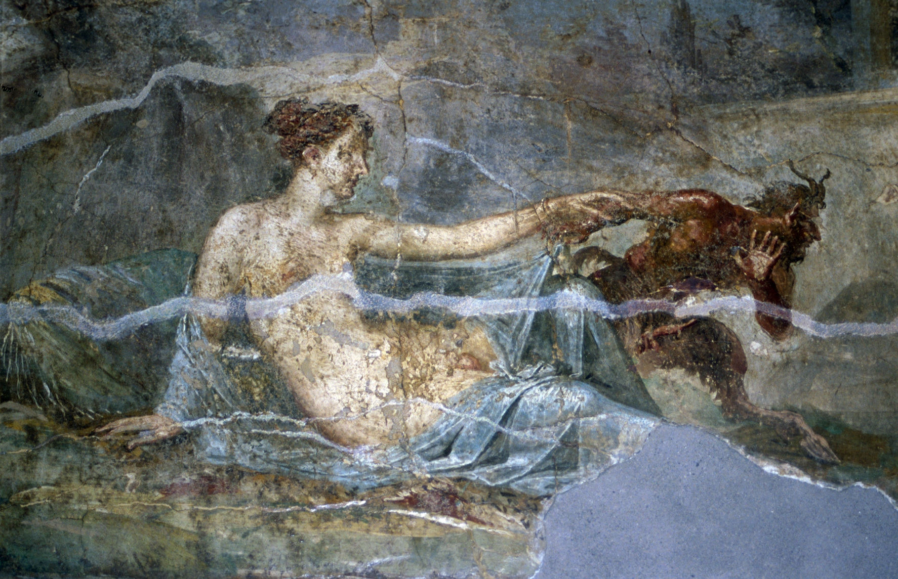 Hermaphroditus and Pan, Fresco