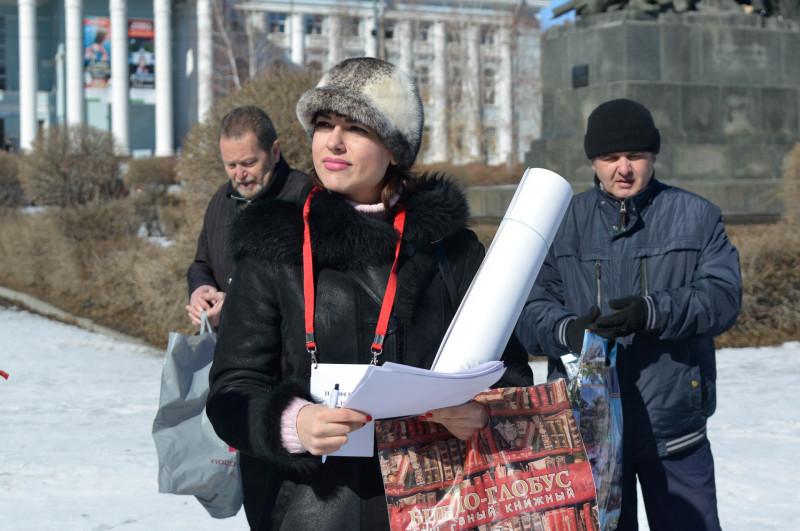 Ольга Панферова перед началом митинга