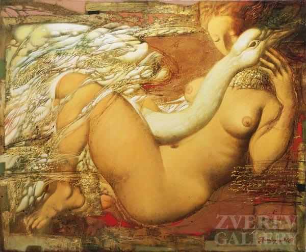 Leda i lebed. oil on canvas