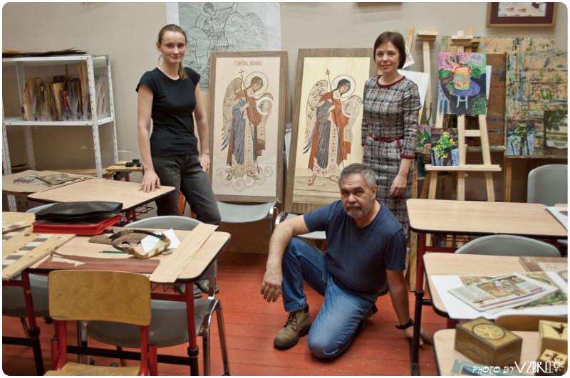 Андрей Литвиненко с ученицами Татьяной и Светланой