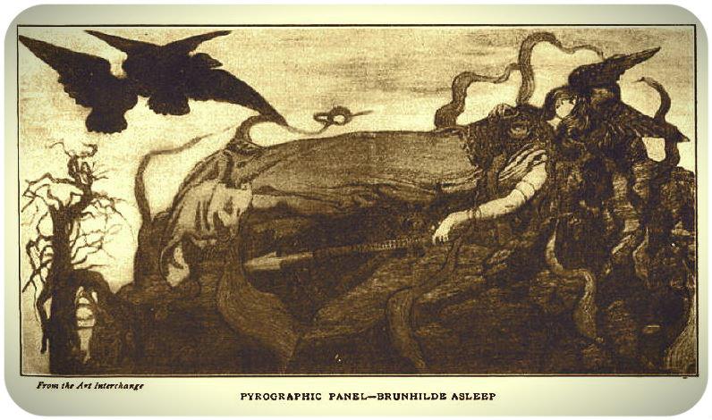 """""""Брунхильде спящая"""", пирографическая работа Маргарет Ферни Итон. 1902 год."""