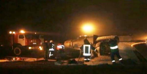 фотография с места аварии самолёта в Казани