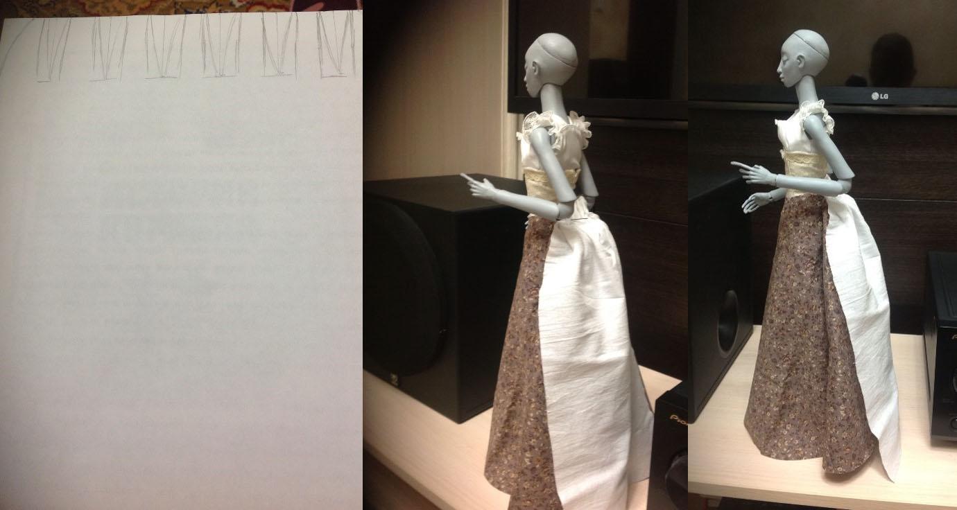 Как сшить платье с турнюром 498