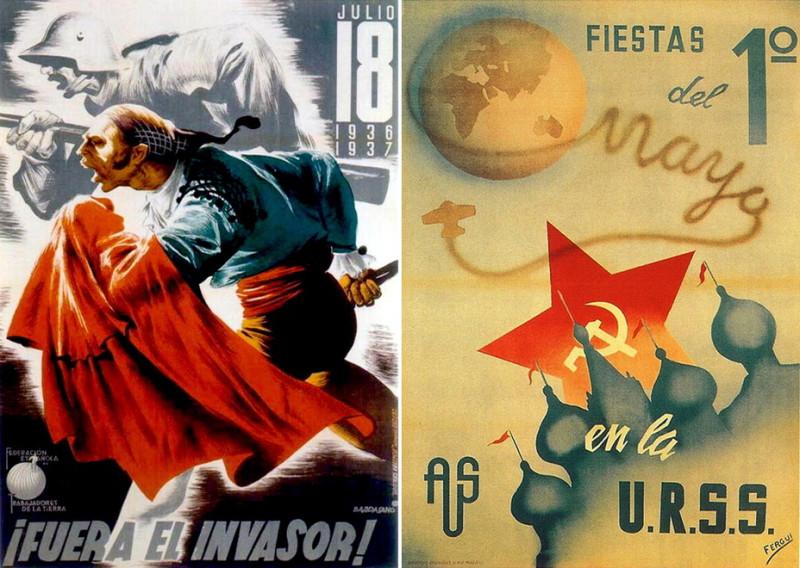 Слева: «Враг рядом!» Республиканская пропаганда пыталась доказать гражданам, что война не совсем гражданская, но и против немецких и итальянских захватчиков. Справа плакат общества друзей Советского Союза, извещающий о праздновании 1 мая. Примечательны красные флаги на церковных куполах — представления о СССР у художника явно были приблизительными