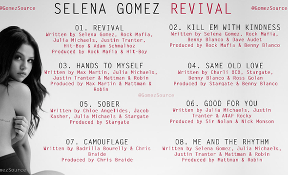 Selena Gomez Revival Tour Song List