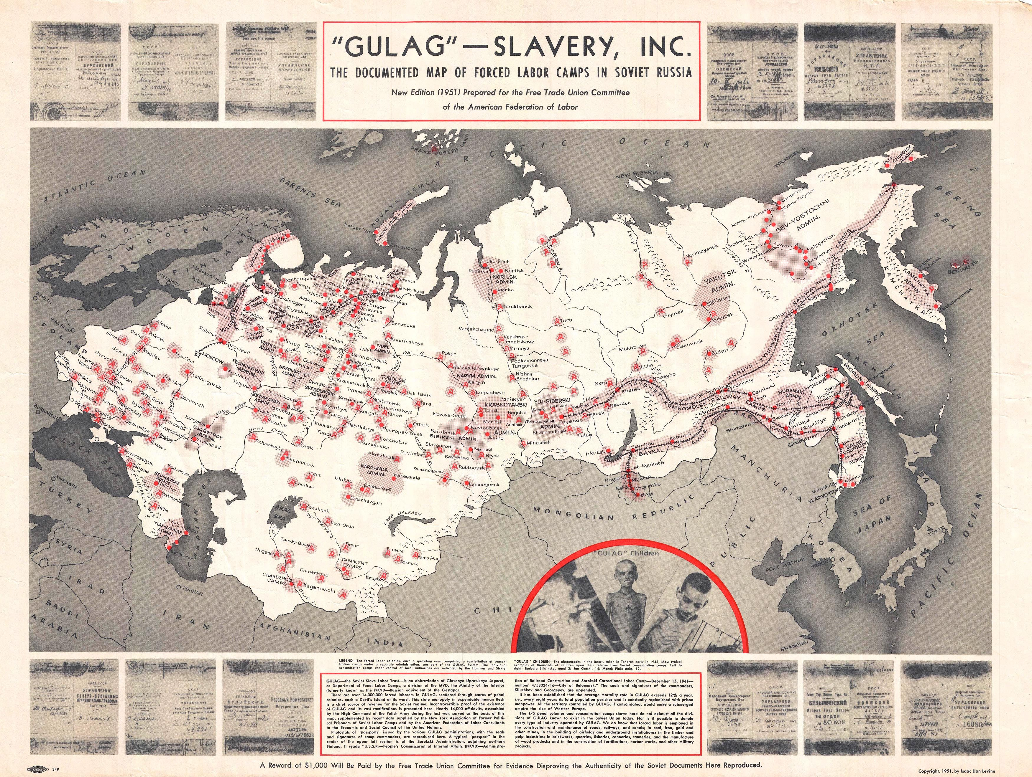 Documented map of the Soviet labor camps (1951)