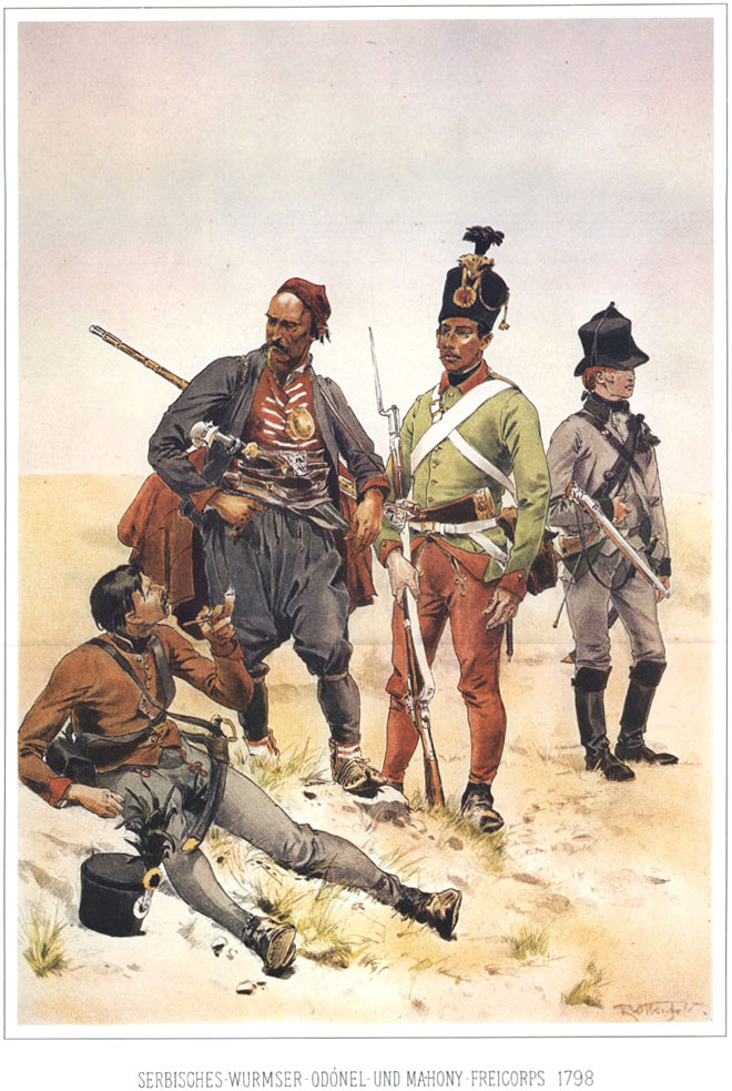 036 - Добровольческие части Сербская, Вюрмзера, О'Донела и Махони 1798