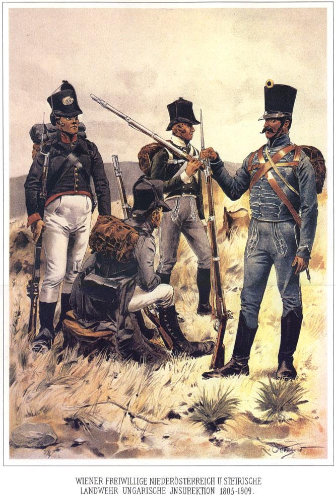 048 - Венские Добровольцы, среднеавстрийский и штирийский ландвер, венгерское ополчение 1805-1809