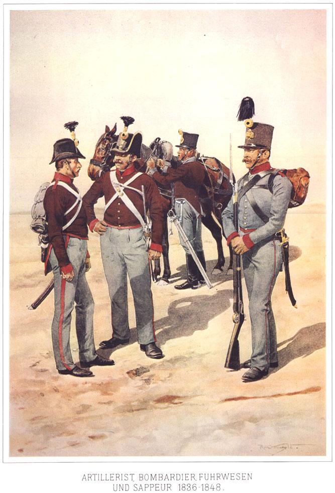061 - Артиллерист, бомбардир, извозчик и сапер 1836-1848