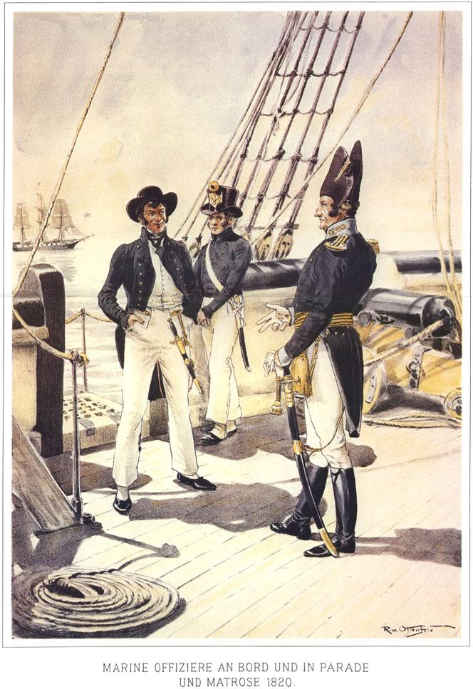 083 - Морской офицер в парадной форме на борту и матросы 1820
