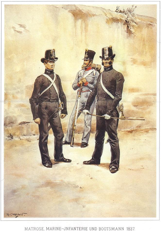 086 - Матрос, морской пехотинец и боцман 1837