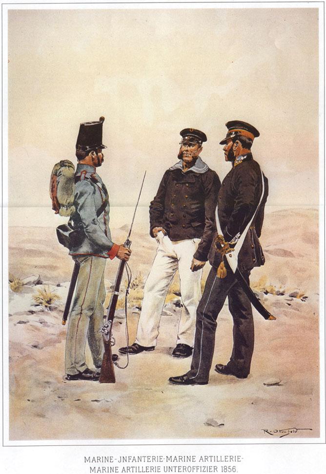 087 - Морской пехотинец, морской артиллерист и унтер-офицeр морской артиллерии 1856