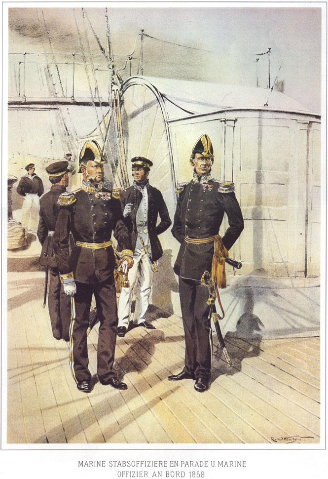 090 - Морской штаб-офицер в парадной форме и морской офицер на борту 1858