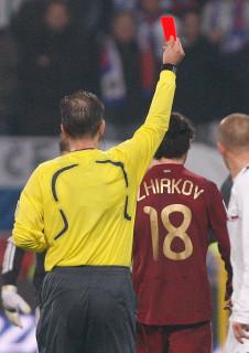 Удаление Жиркова в футбольном матче Россия - Словения