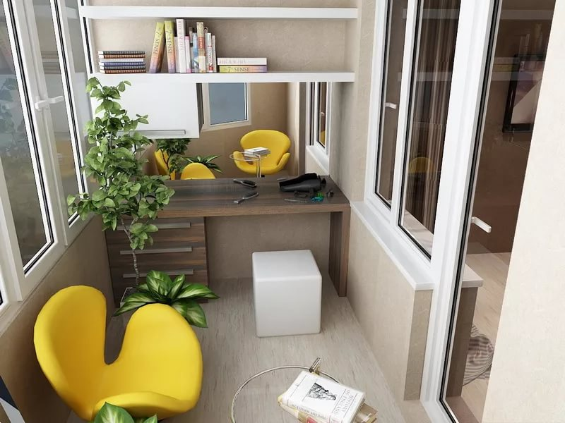 рабочая комната на балконе фото