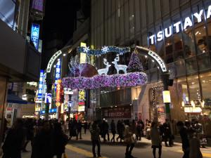 Christmas decorations in Shibuya