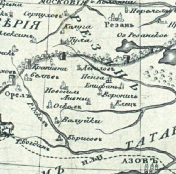 Карта 1614 года. Города Воронеж и Елец