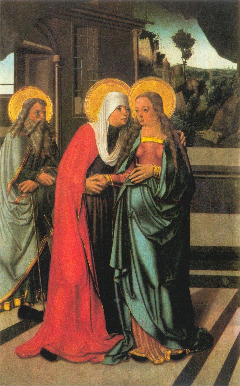 «Встреча Марии и Елизаветы». Мастер Литомержицкого алтаря. Створка Страговского алтаря.