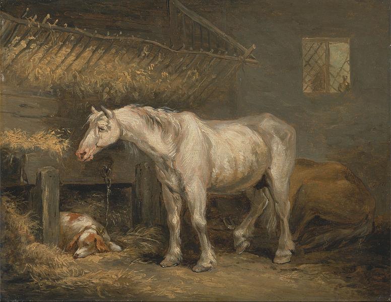 Джордж Морланд - Старая лошадь с собакой в конюшне