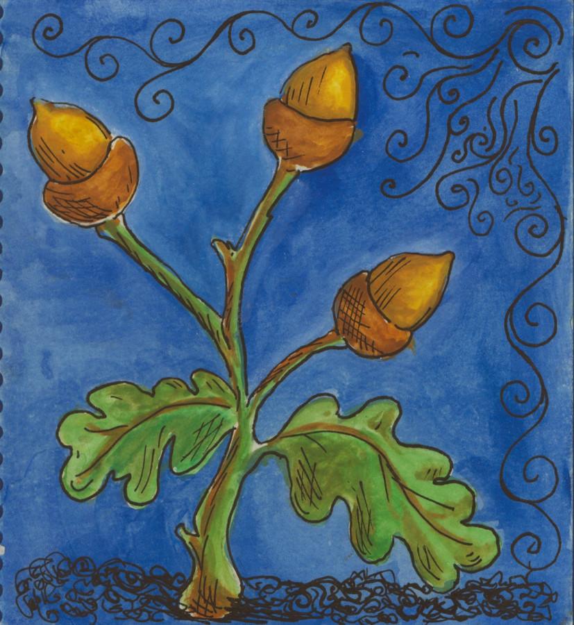 Melissa Arleth's artwork, basis for Acorn Garden logo
