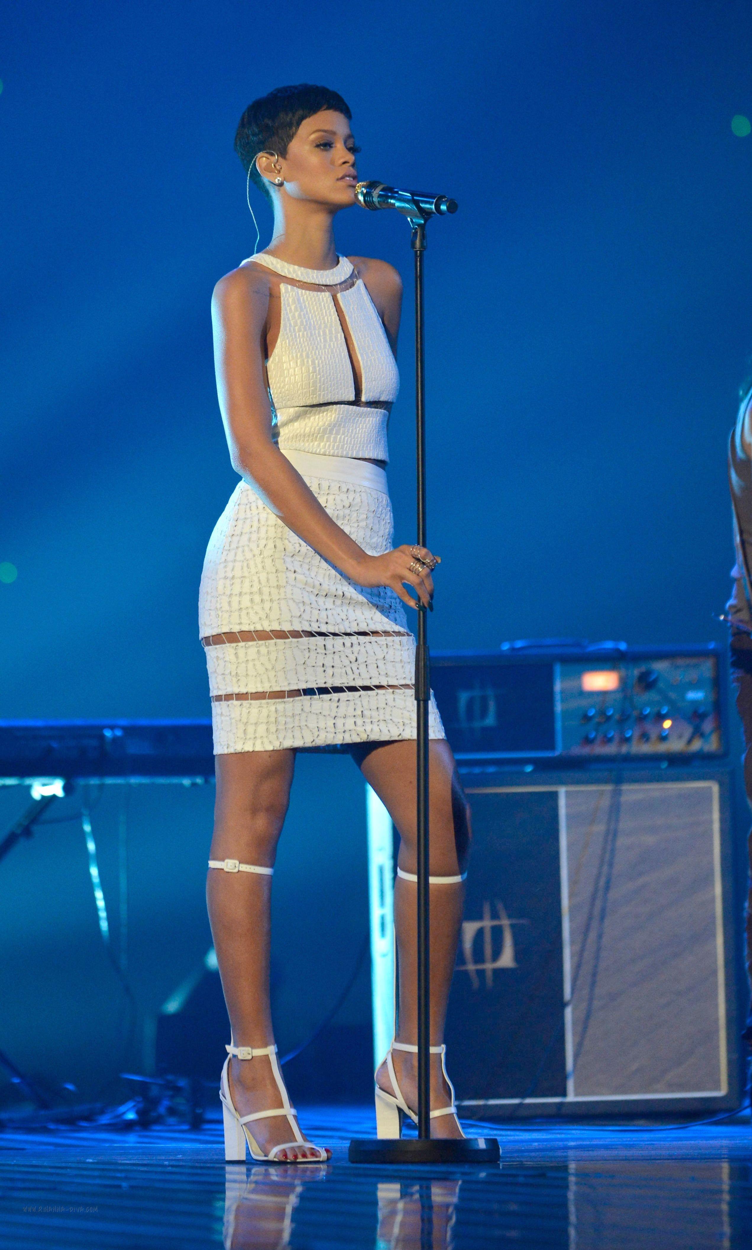 Rihanna Wearing Alexander Wang Wearing a White Alexander Wang
