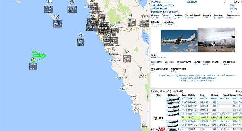 противолодочные самолеты прочесывают побережье Калифорнии