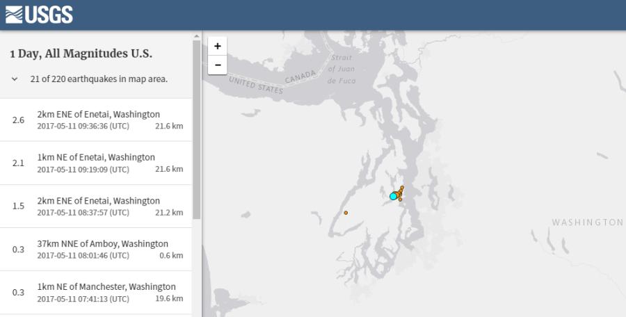 землетрясения в районе хранилища за последние сутки