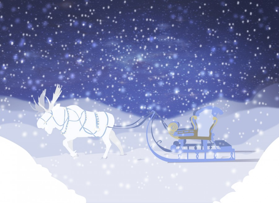 Moose drawn sleigh