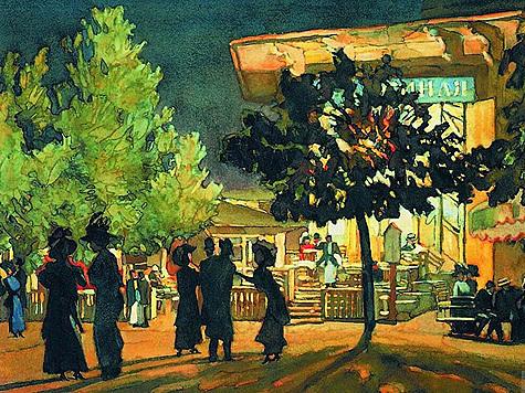 Константин Юон. Ночь на Тверском бульваре.