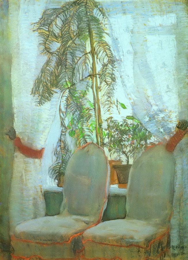 1905 Окно. Москва, квартира родителей художника. Картон,  пастель. 49х64. ГТГ