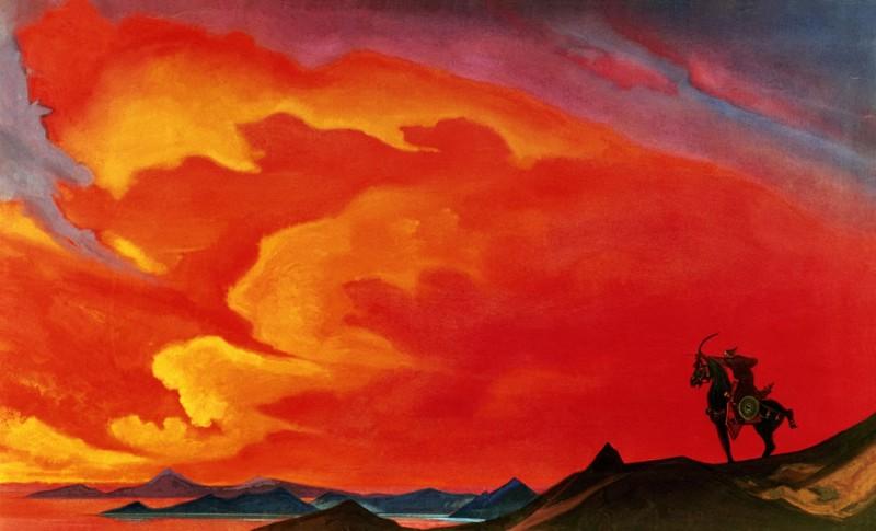Гэсэр-хан. 1941. Холст, темпера. 91 x 152. Мемориальная квартира Ю. Н. Рериха, Москва