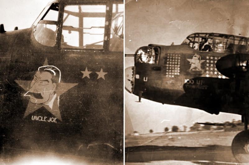 """Портрет Сталина на борту английского бомбардировщика """"Ланкастер"""". Подпись - """"Дядюшка Джо"""""""
