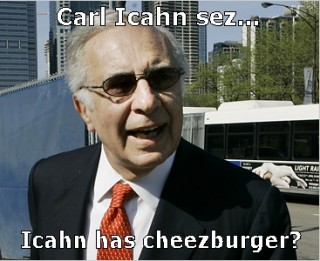 Icahn has cheezburger?