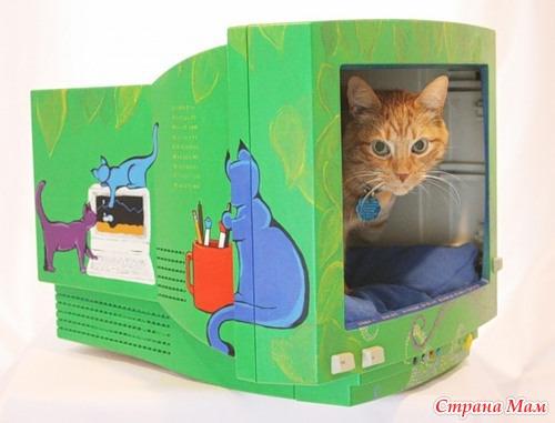 Как сделать из бумаги домик для кошек