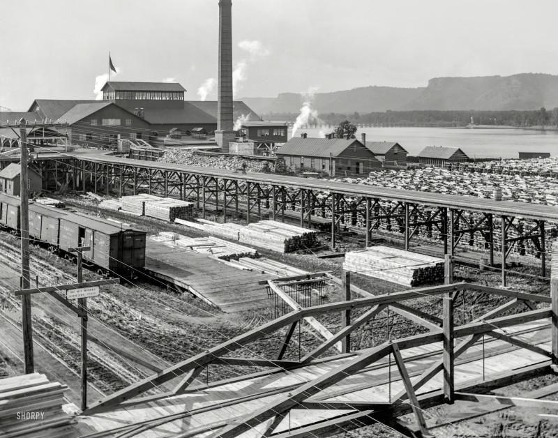 Лесоперерабатывающий завод в Вайноне (штат Миннесота), 1899 год.