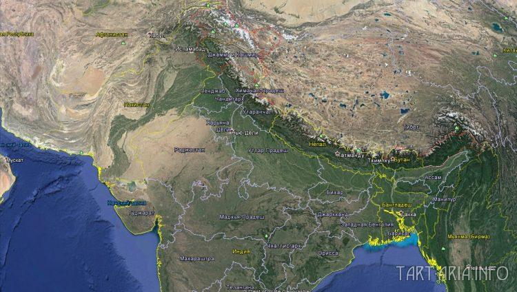 Гималаи и северная часть Индии из космоса