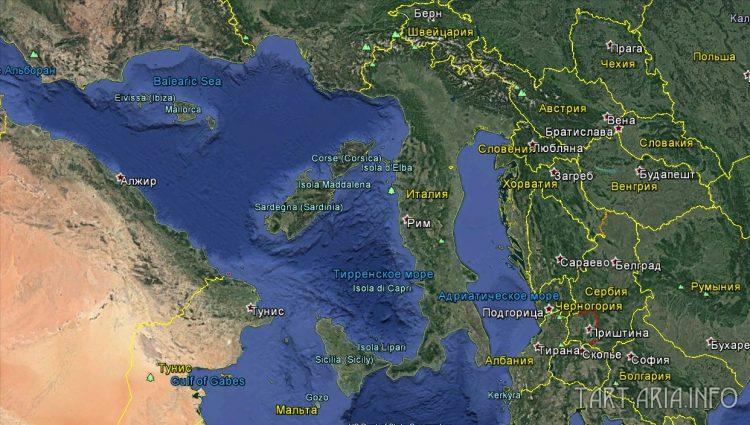 Средиземное море из космоса
