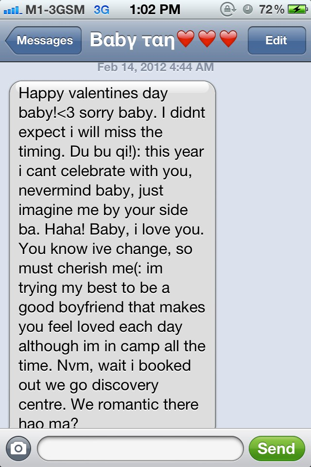 baby sent me this long text so sweet right happy valentines day my valentine although hes in camp this valentines day - Valentines Day Texts