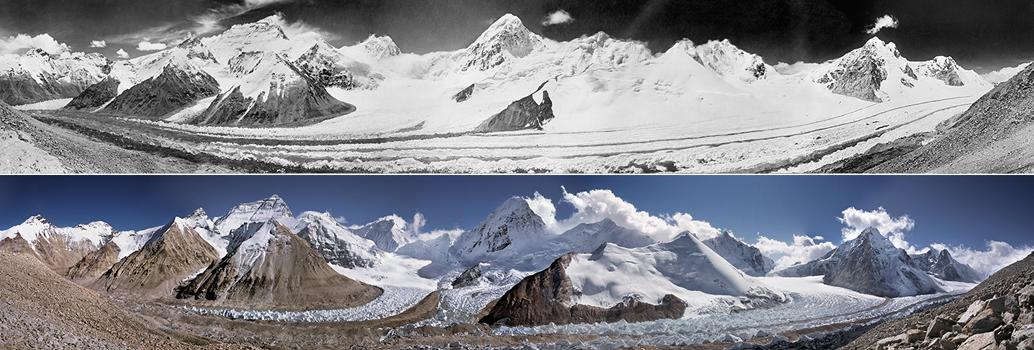 Панорама ледника Main Rongbuk и горы Эверест