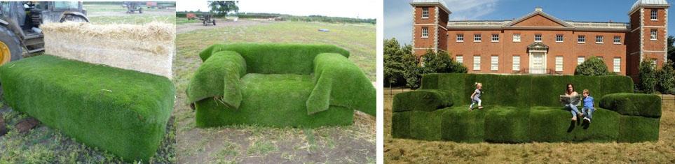 диван из газонной травы в рулонах