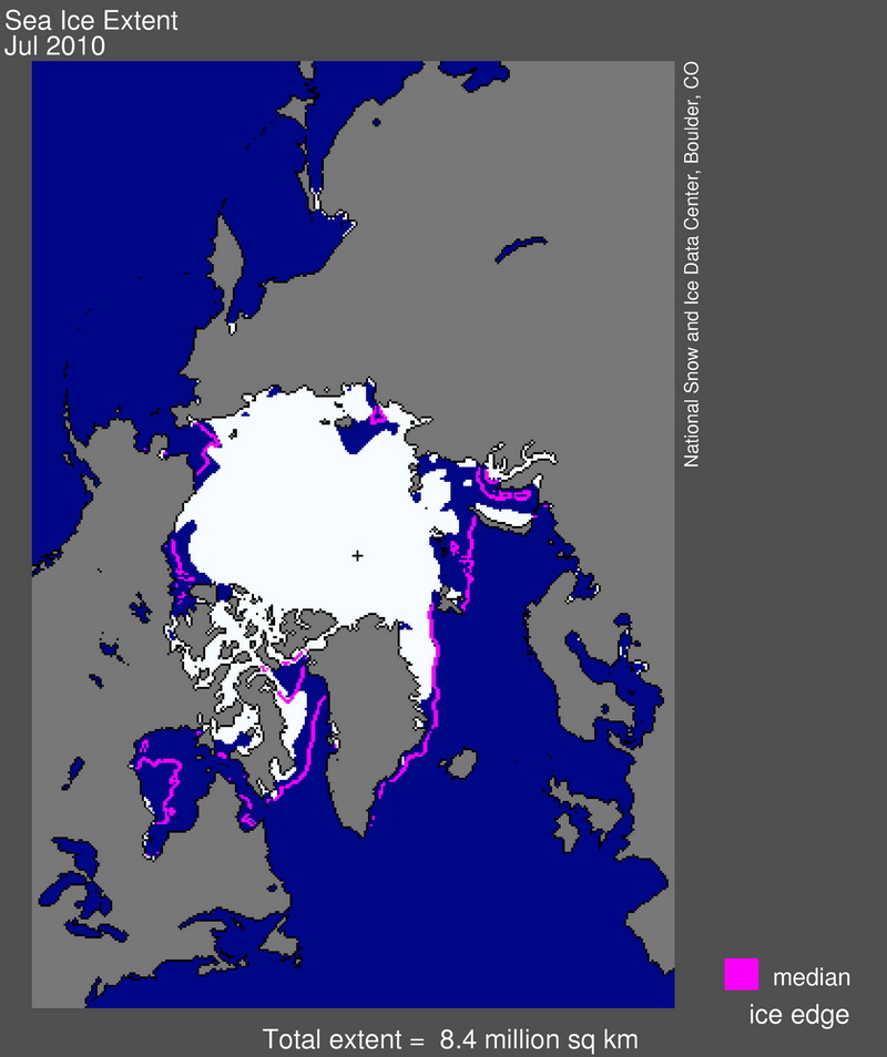 Арктический лёд в июле 2010 году