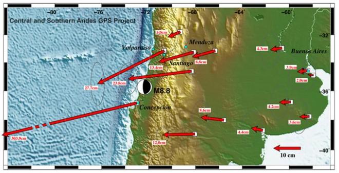 В результате землетрясения Чилийские города переместились на запад