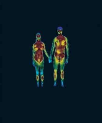 Фотография пары Homo sapiens, сделанная с помощью тепловизора