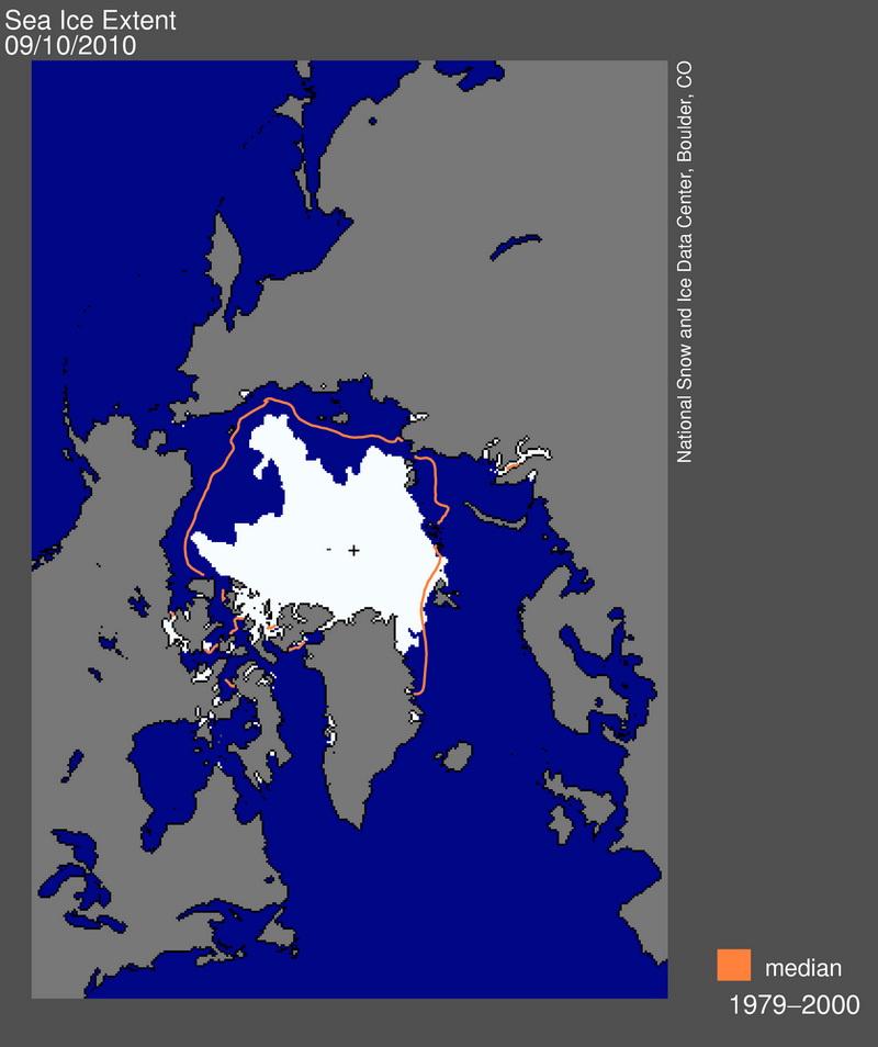 Площадь ледового покрытия Арктики по сравнению с многолетним средним минимумом