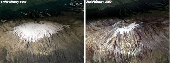 Ледовая шапка Килиманджаро в феврале 1993 и 2000 года.