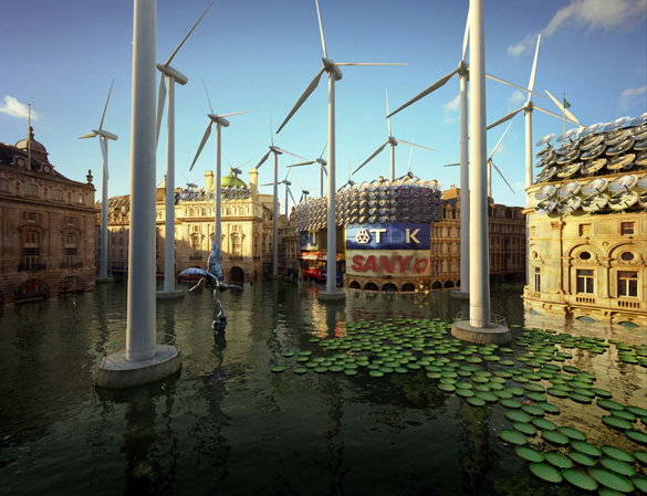 Piccadilly Circus – water lilies, fish and wind turbines