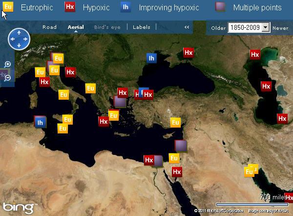 Эвтрофикация в Средиземном, Чёрном и Каспийском морях