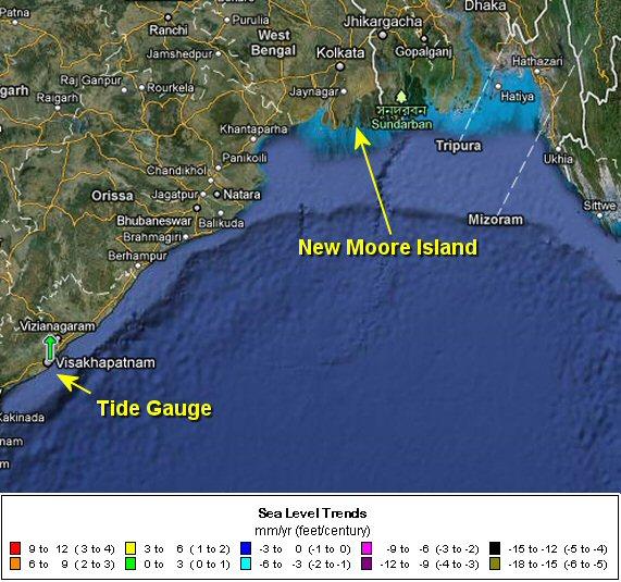 Изменение уровня моря в Бенгальском заливе