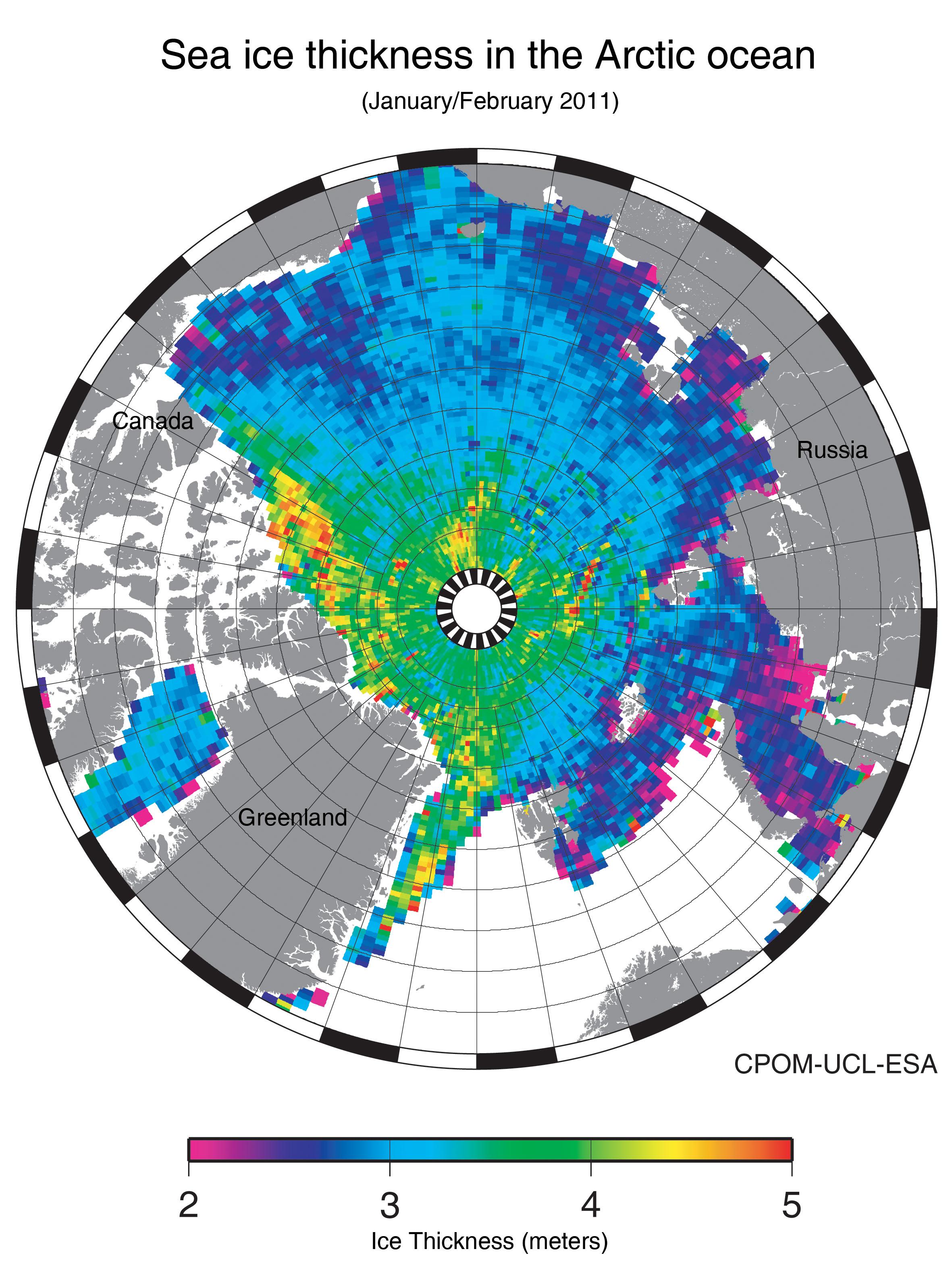 Толщина льда в Арктике